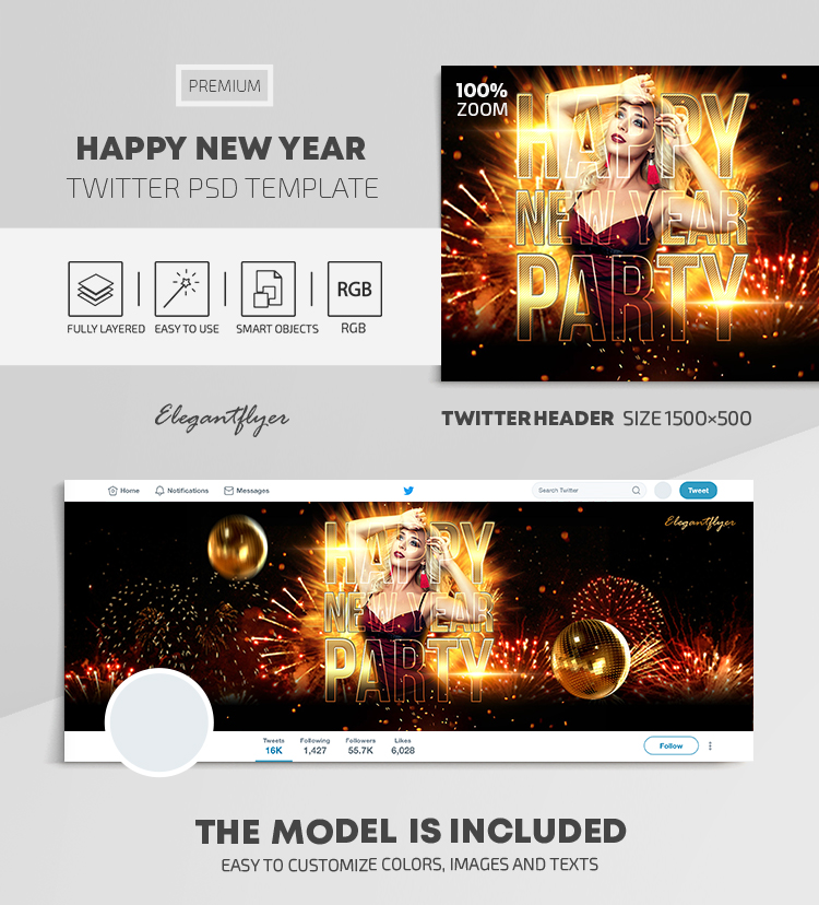 Happy New Year – Twitter Header PSD Template