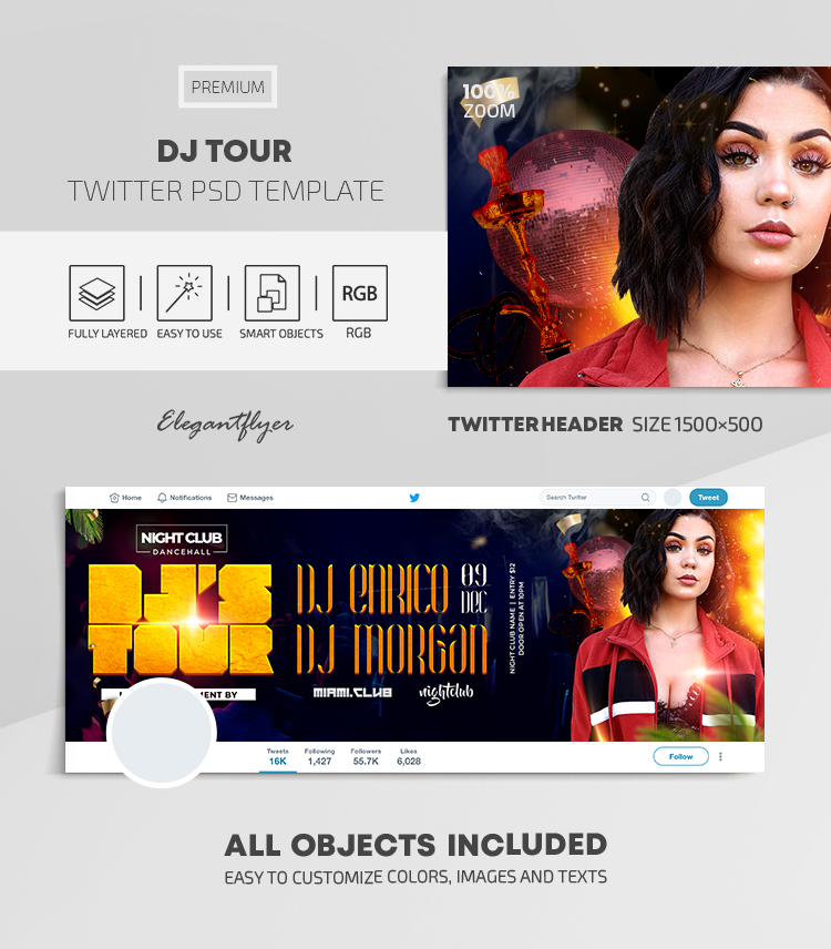 DJ Tour – Twitter Header PSD Template