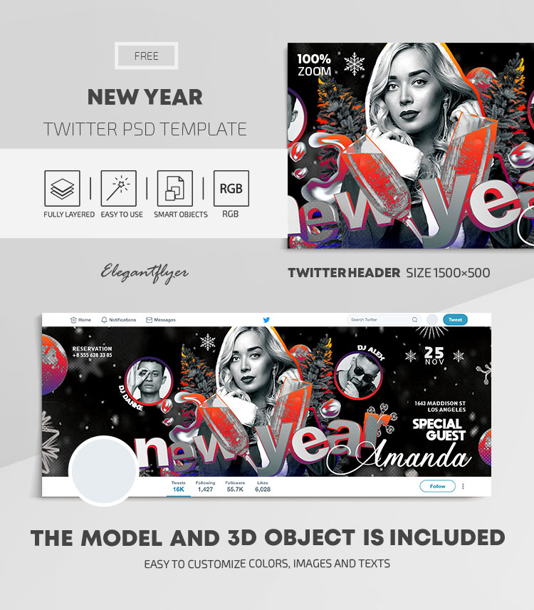 New Year – Free Twitter Header PSD Template