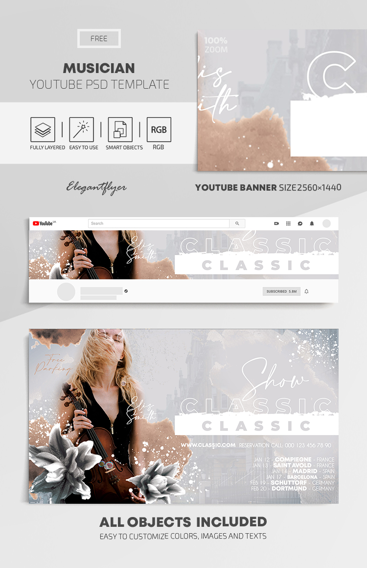 Musician – Free Youtube Channel banner PSD Template
