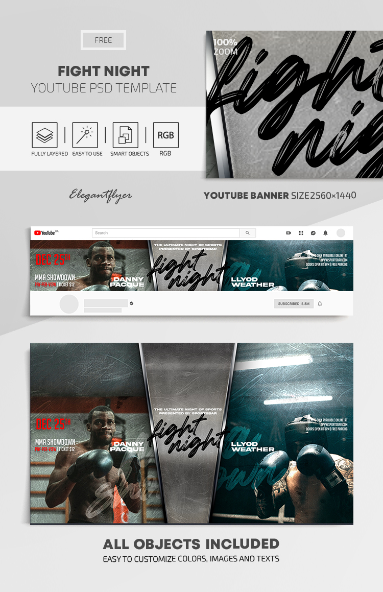 Fight Night – Free Youtube Channel banner PSD Template