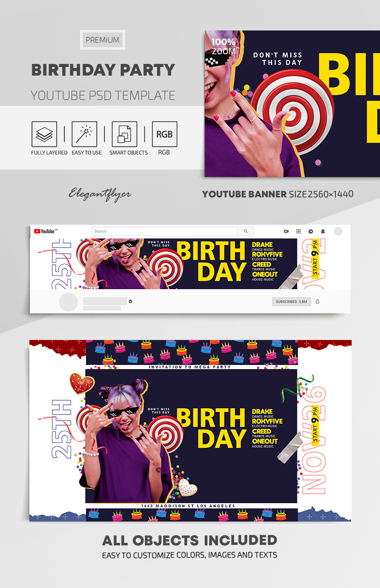 Birthday Party – Youtube Channel banner PSD Template
