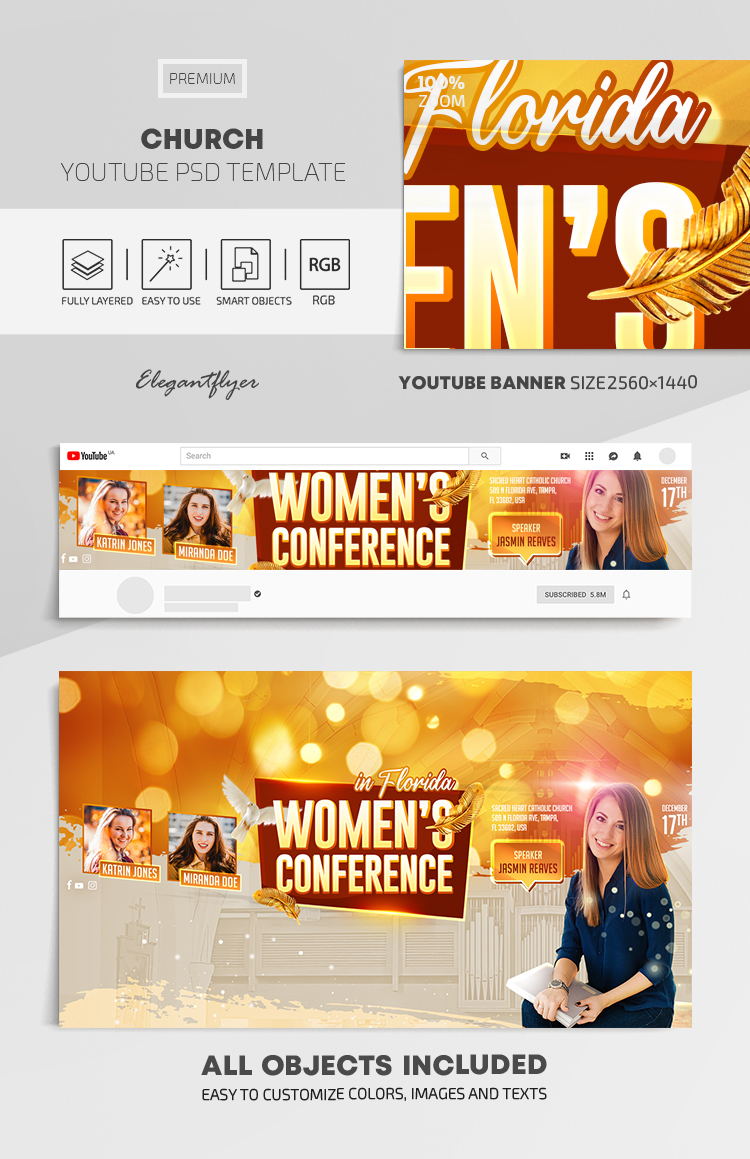 Church – Youtube Channel banner PSD Template