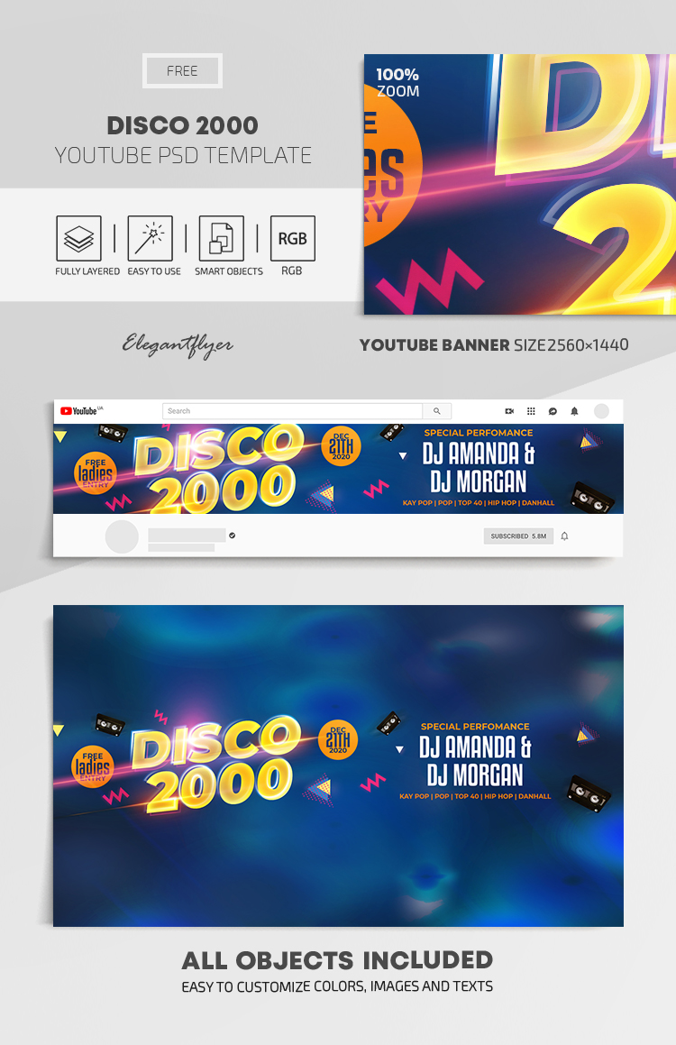 Disco 2000 – Free Youtube Channel banner PSD Template
