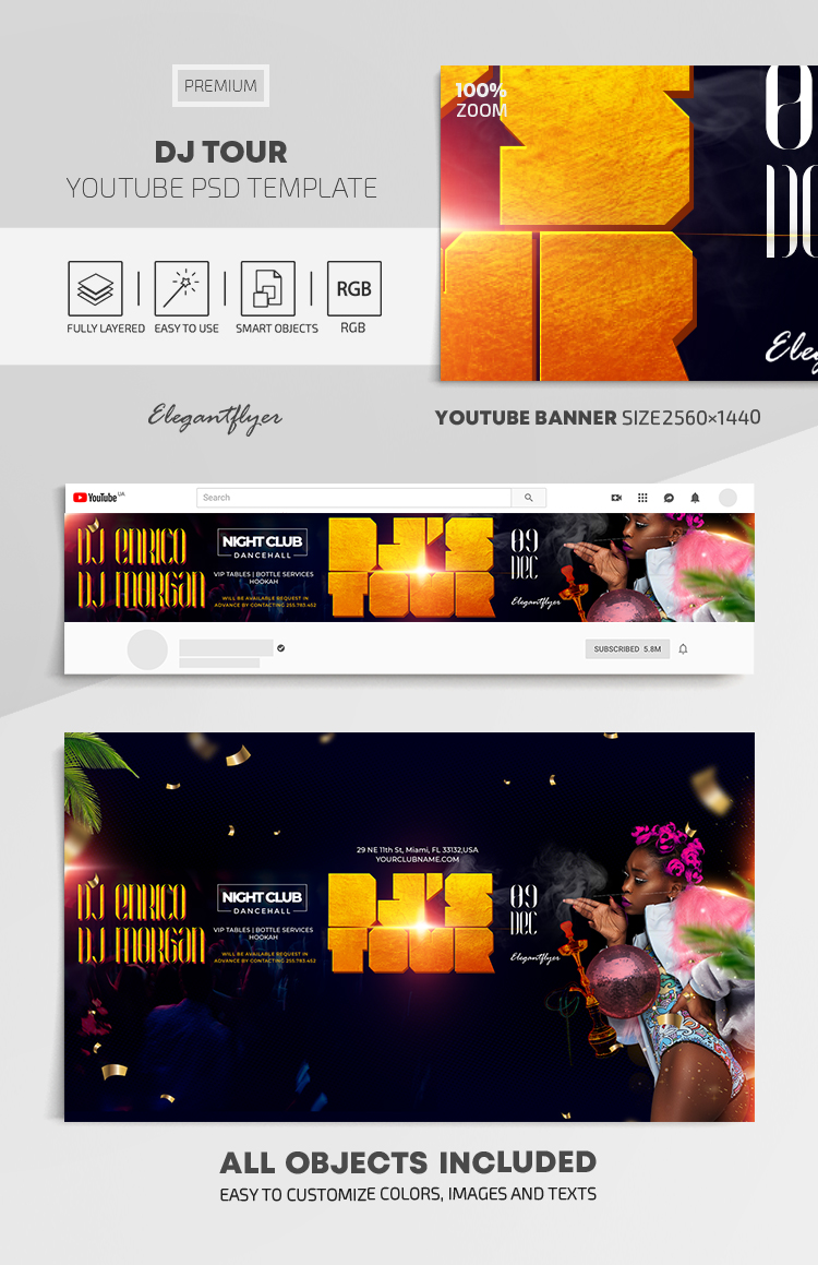 DJ Tour – Youtube Channel banner PSD Template