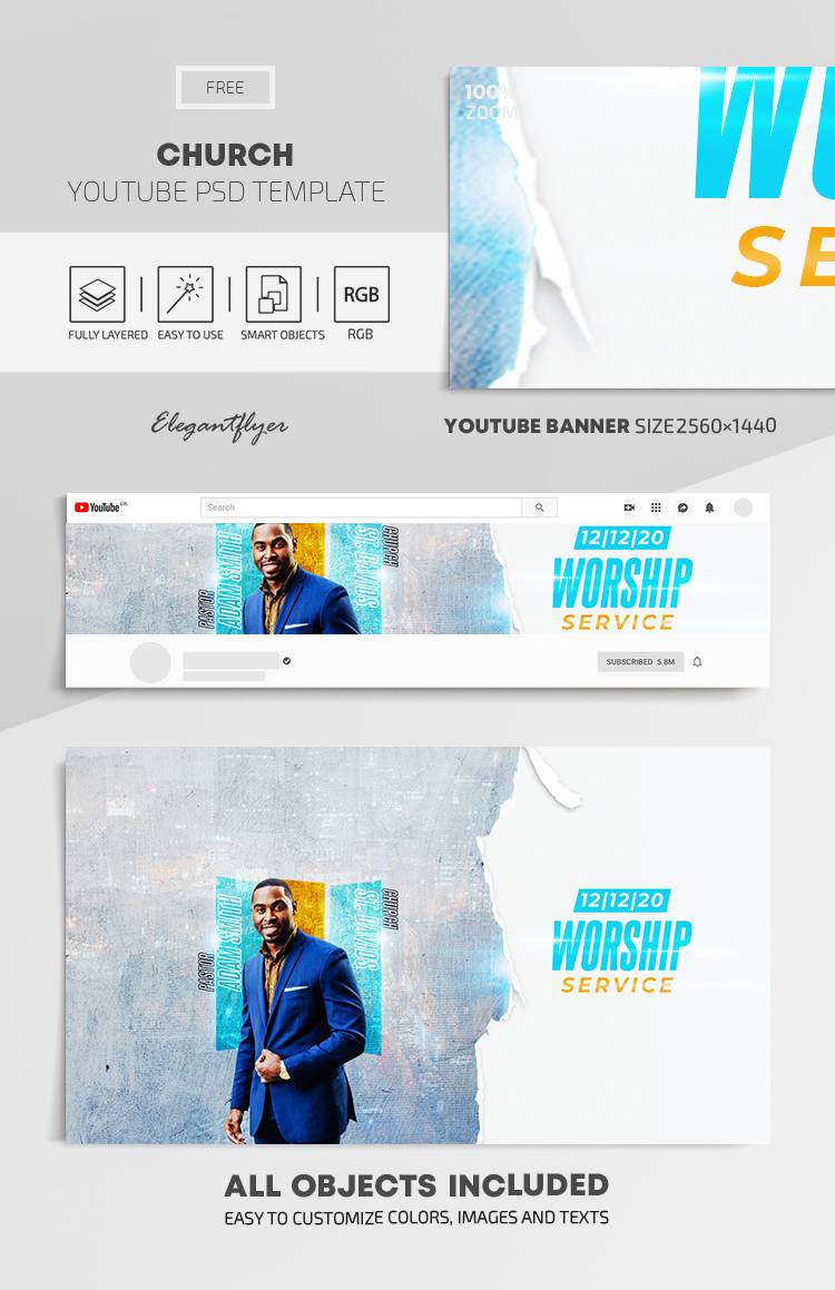 Church – Free Youtube Channel banner PSD Template