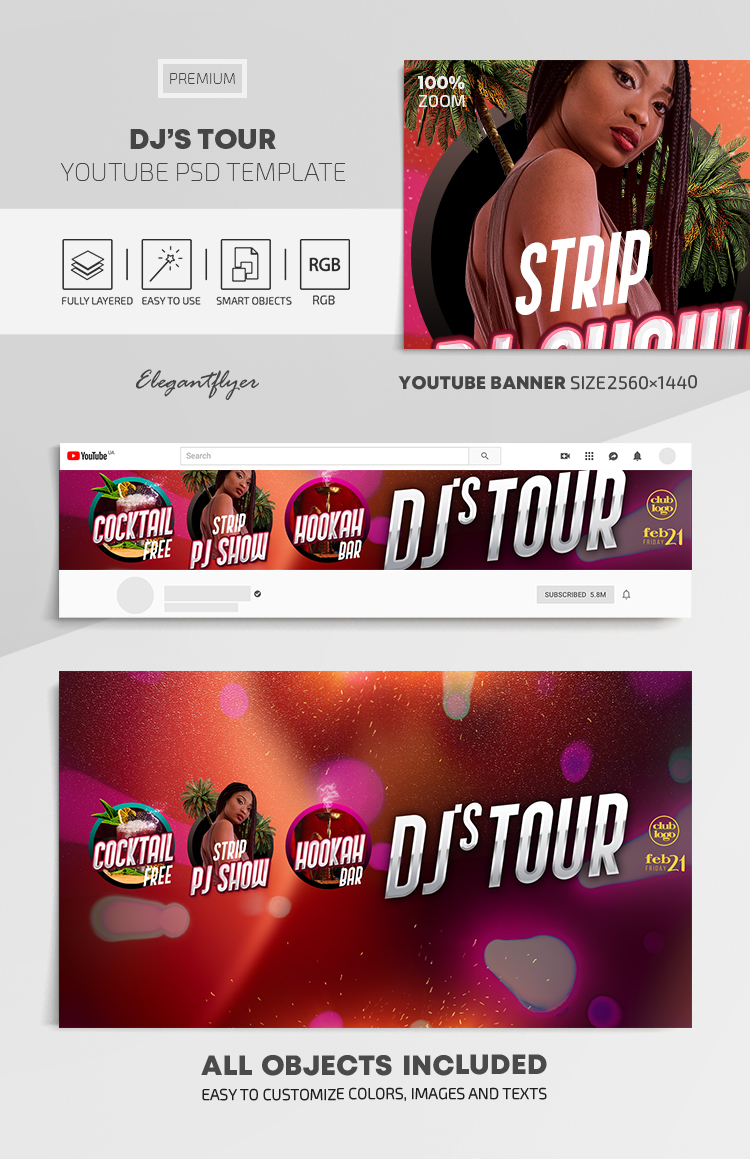 Dj's Tour – Youtube Channel banner PSD Template