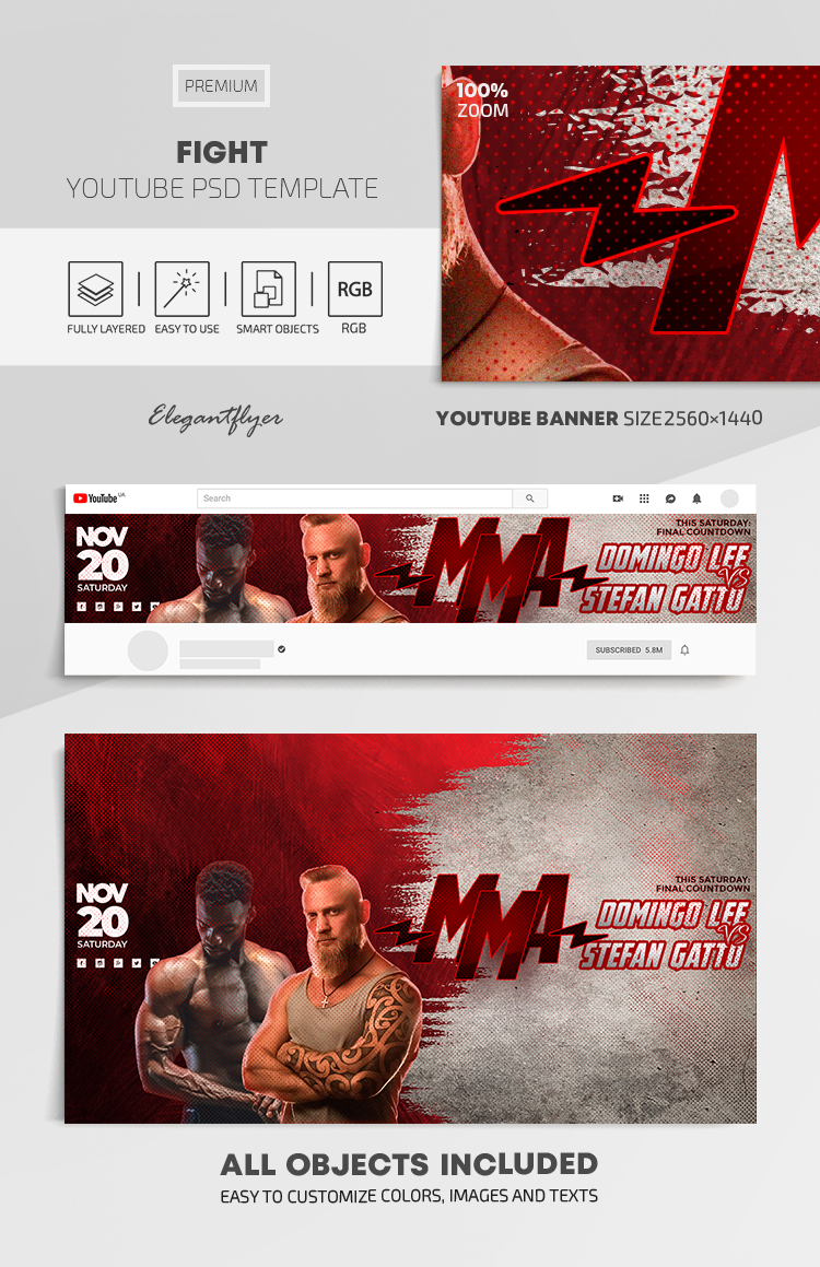 Fight – Youtube Channel banner PSD Template