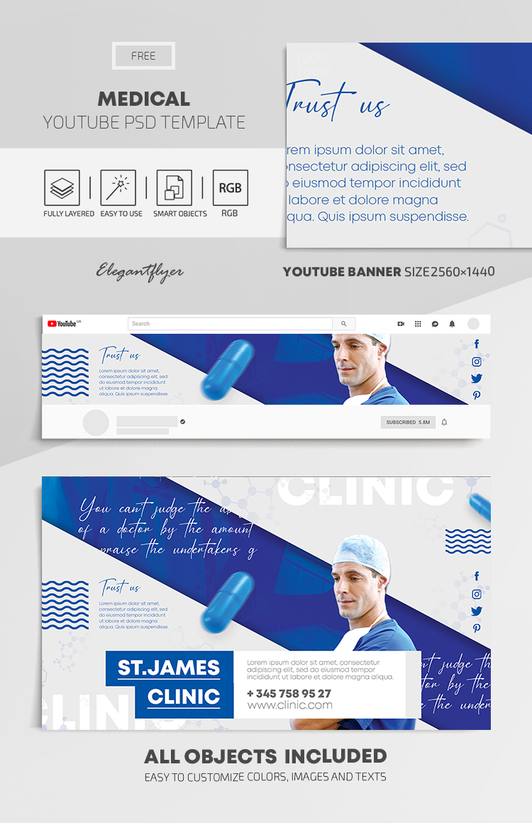Medical – Free Youtube Channel banner PSD Template