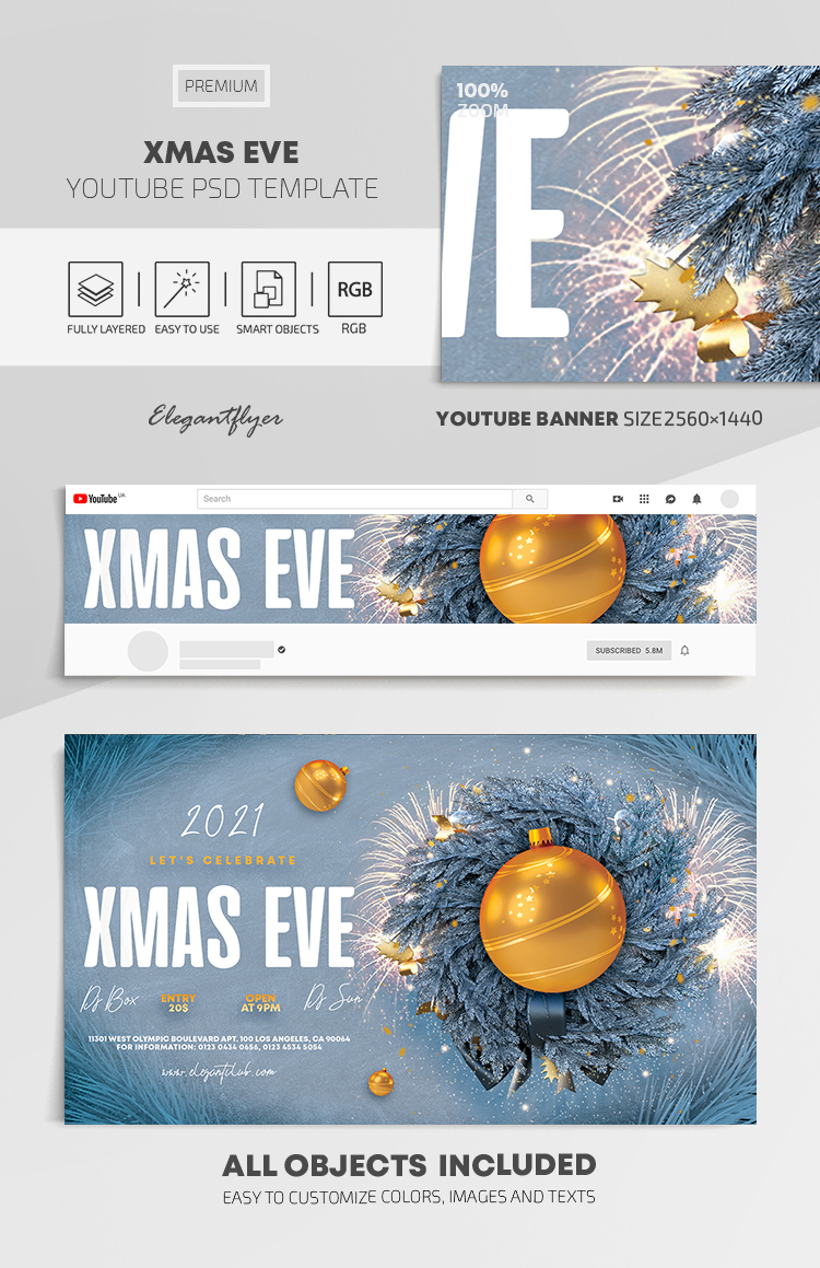 Xmas Eve – Youtube Channel banner PSD Template