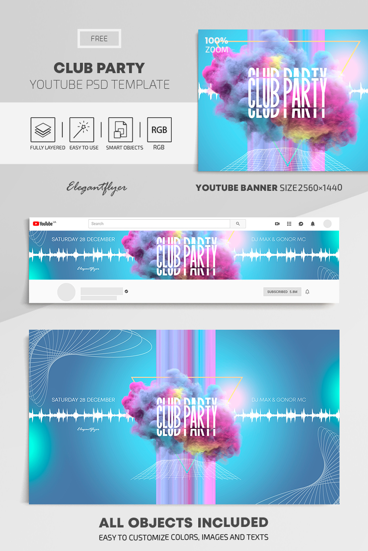 Club Party – Free Youtube Channel banner PSD Template