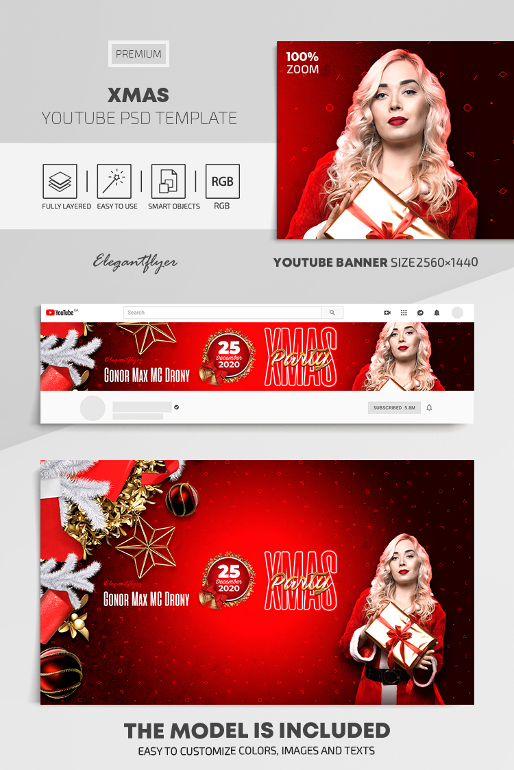 Xmas – Youtube Channel banner PSD Template