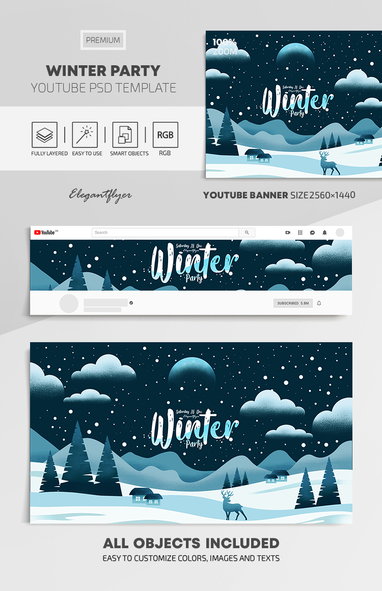 Winter Party – Youtube Channel banner PSD Template