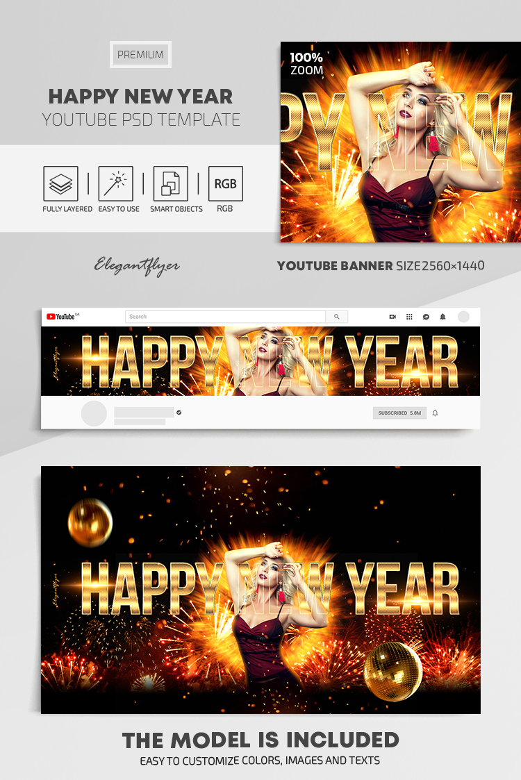 Happy New Year – Youtube Channel banner PSD Template