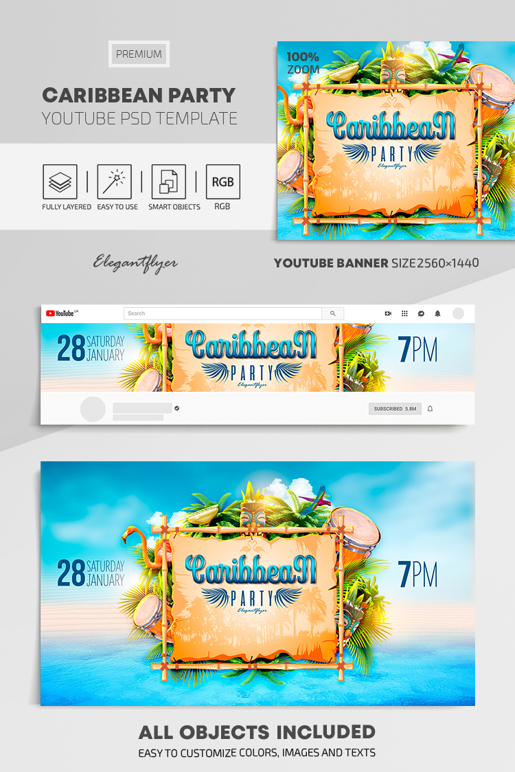 Caribbean Party – Youtube Channel banner PSD Template