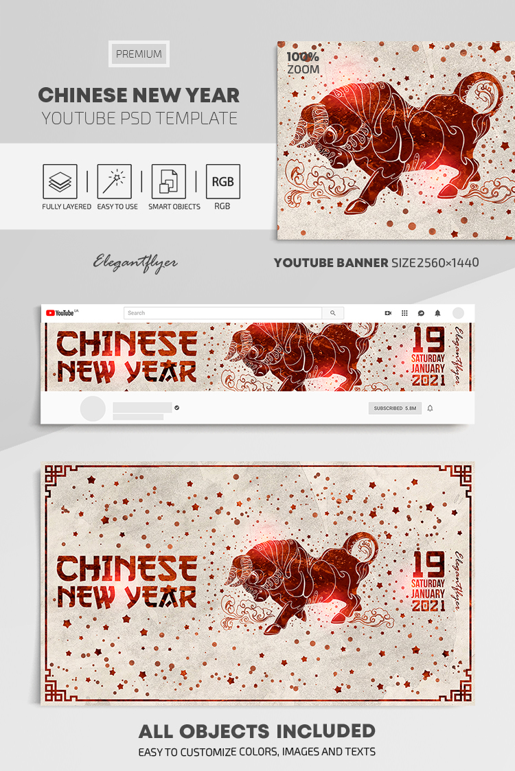 Chinese New Year – Youtube Channel banner PSD Template