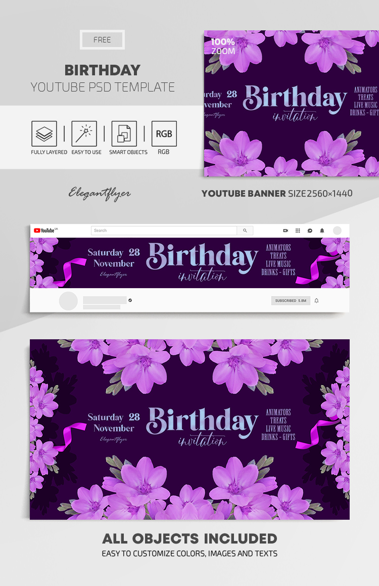 Birthday – Free Youtube Channel banner PSD Template