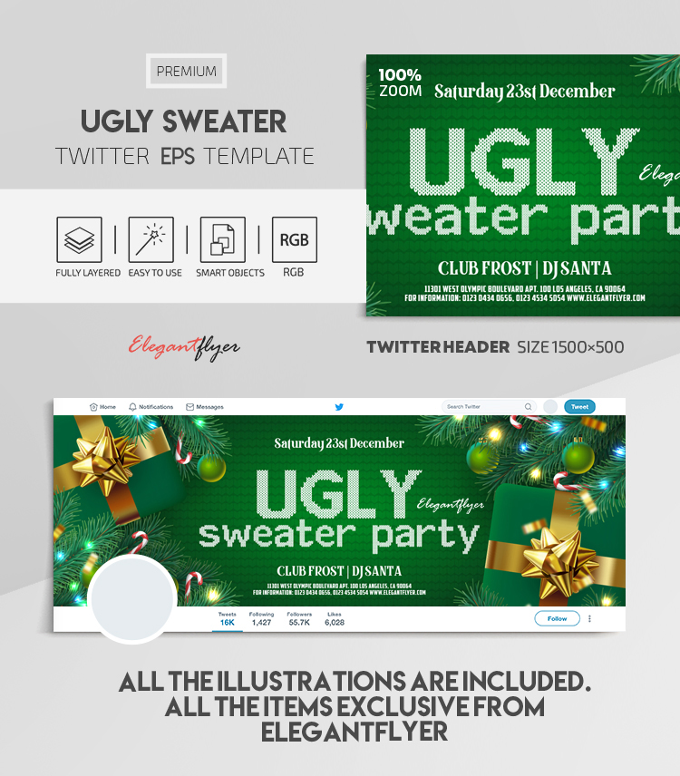 Ugly Sweater – Vector Twitter Header EPS Template