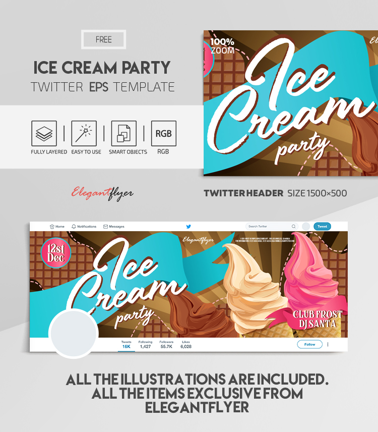 Ice Cream Party – Free Vector Twitter Header EPS Template