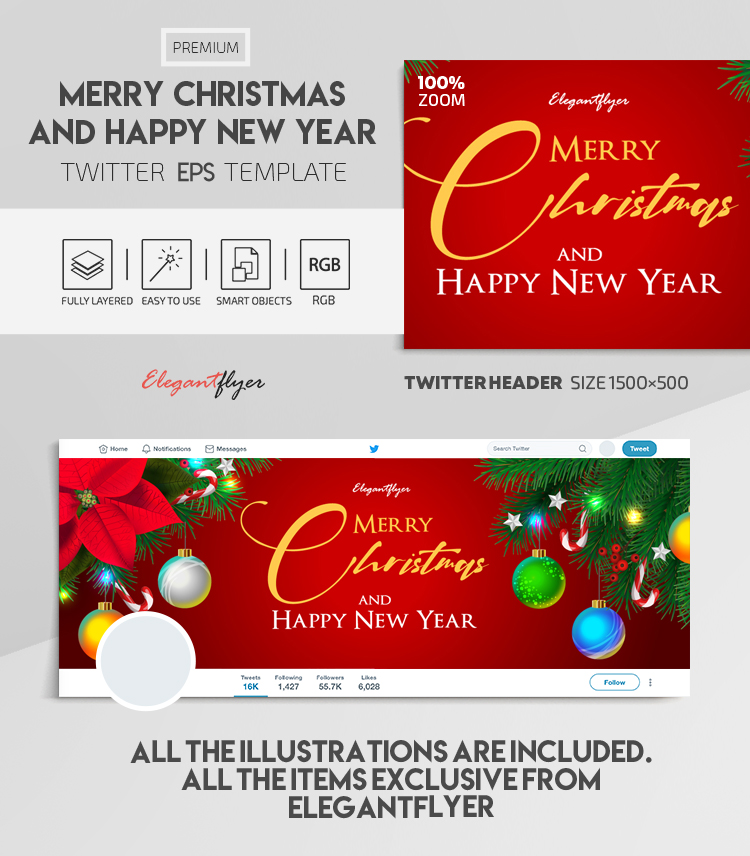 Merry Christmas and Happy New Year – Vector Twitter Header EPS Template