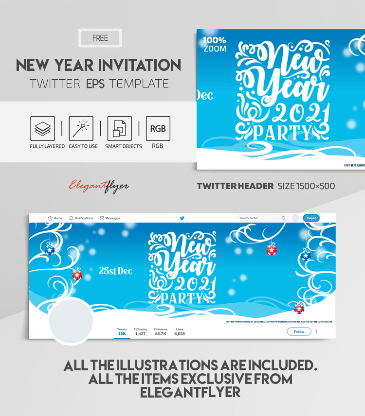 New Year Invitation – Free Vector Twitter Header EPS Template