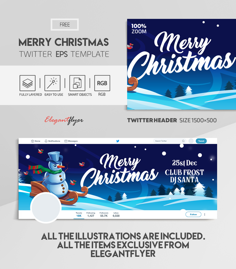 Merry Christmas – Free Vector Twitter Header EPS Template