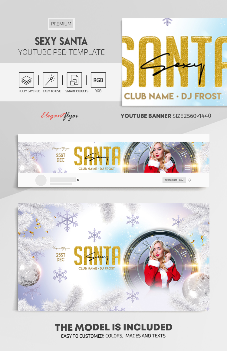 Sexy Santa – Youtube Channel banner PSD Template