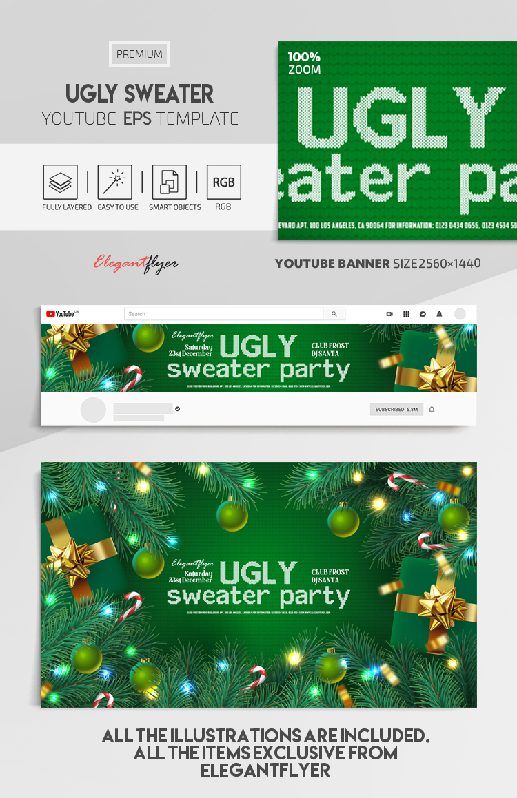 Ugly Sweater – Vector Youtube Channel banner EPS Template