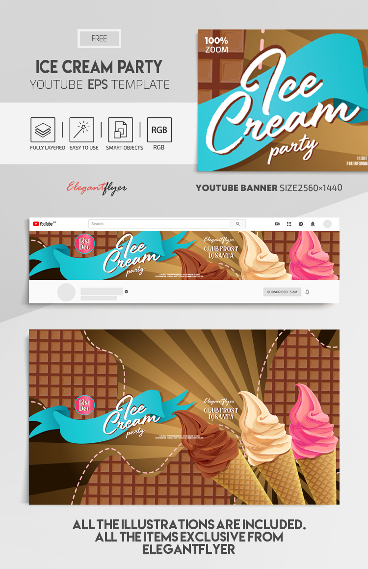 Ice Cream Party – Free Vector Youtube Channel banner EPS Template
