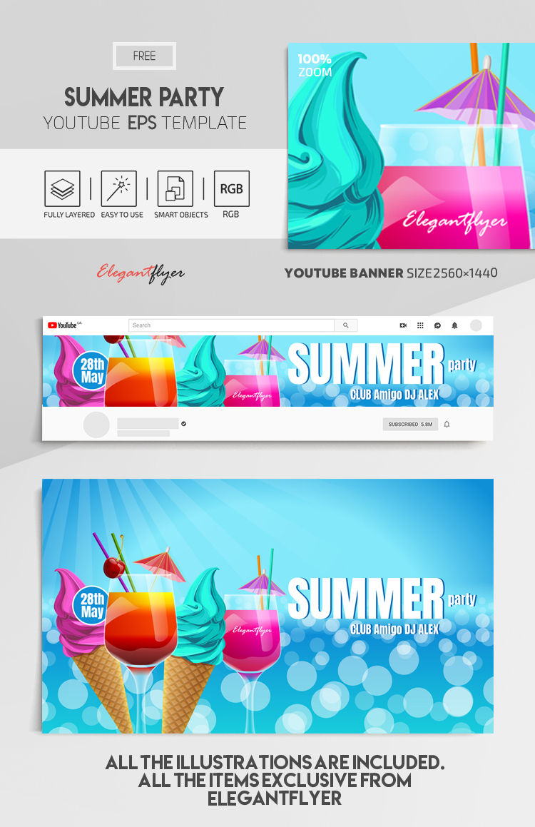 Summer Party – Free Vector Youtube Channel banner EPS Template