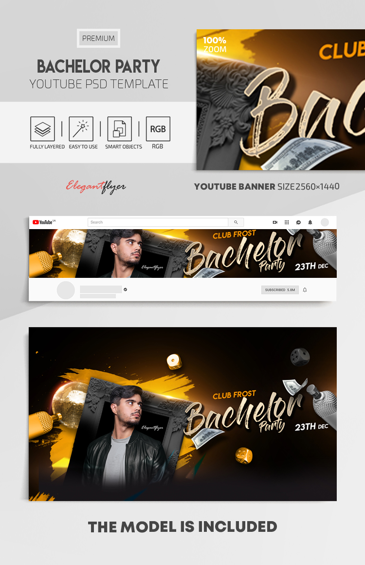 Bachelor Party – Youtube Channel banner PSD Template