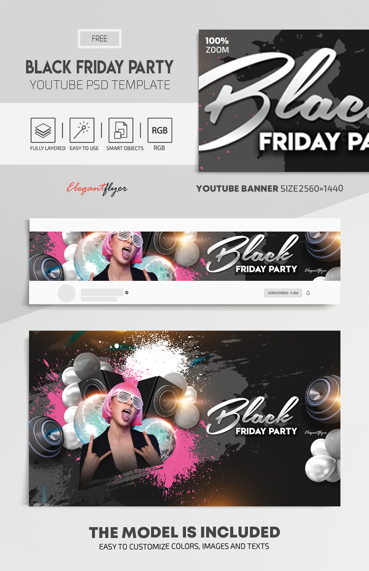 Black Friday Party – Free Youtube Channel banner PSD Template