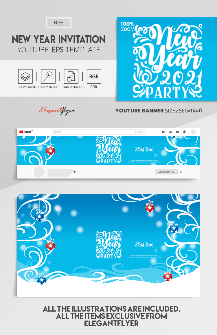 New Year Invitation – Free Vector Youtube Channel banner EPS Template