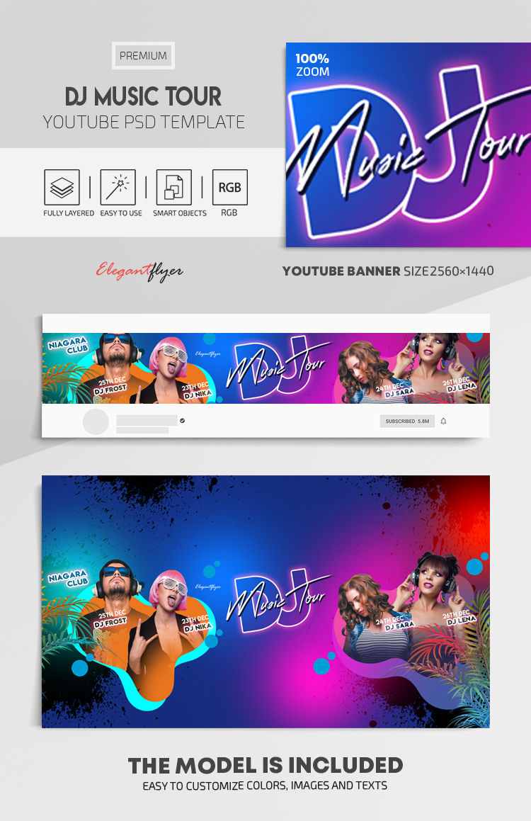 DJ Music Tour – Youtube Channel banner PSD Template