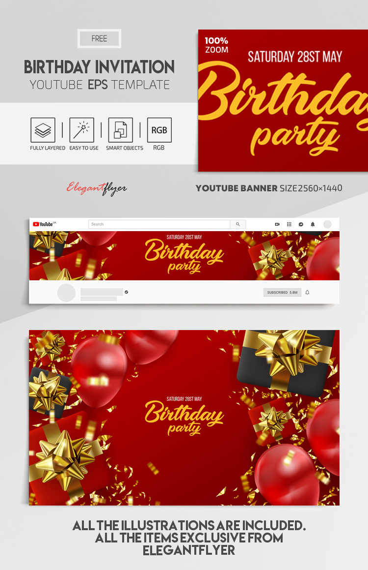 Birthday Invitation – Free Vector Youtube Channel banner EPS Template