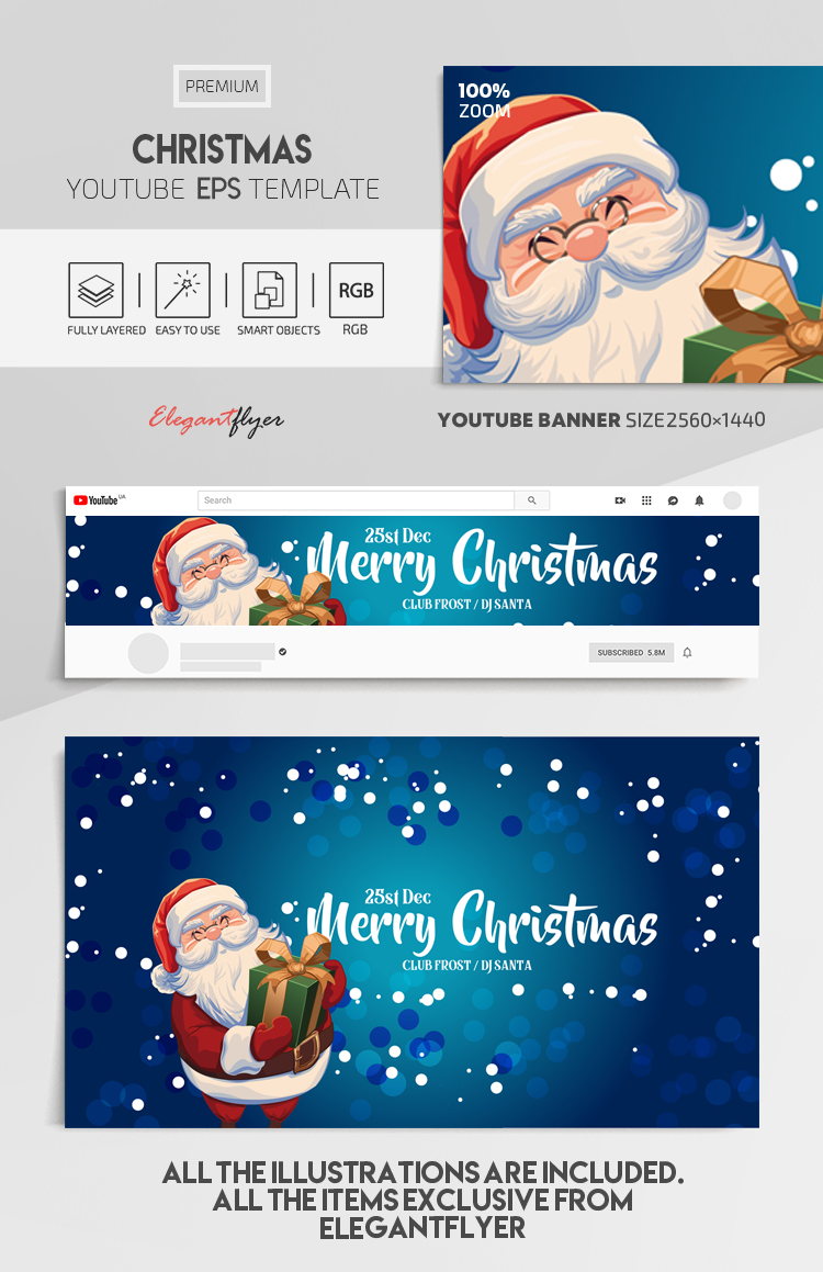 Christmas – Vector Youtube Channel banner EPS Template