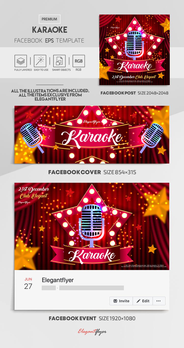 Karaoke – Vector Facebook Cover Template in EPS + Post + Event cover