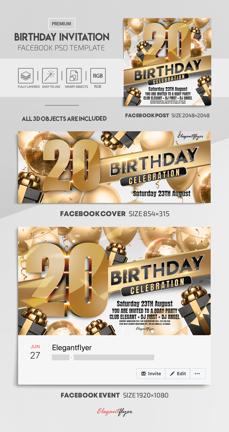 Birthday Invitation – Facebook Cover Template in PSD + Post + Event cover