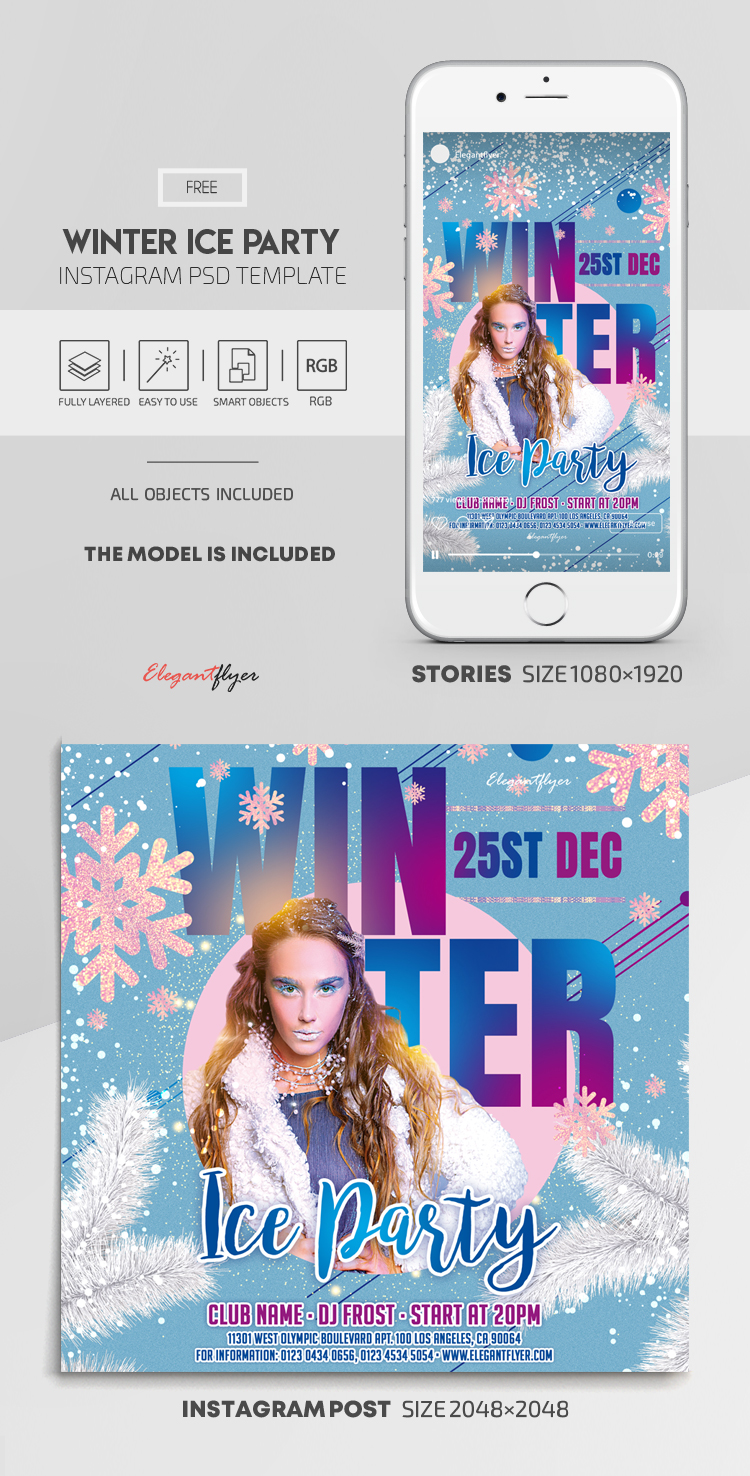 Winter Ice Party – Free Instagram Stories Template in PSD + Post Template
