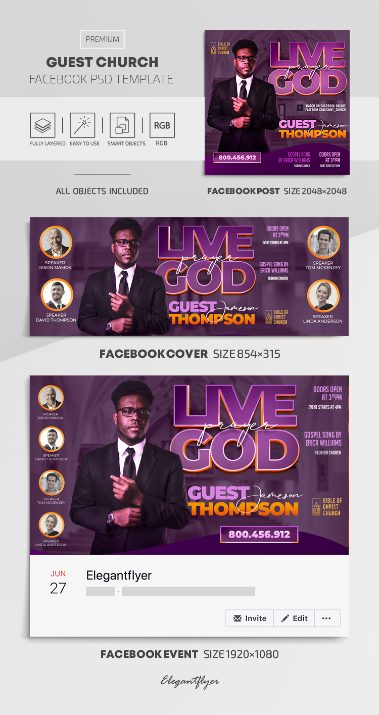 Church Guest – Facebook Cover Template in PSD + Post + Event cover
