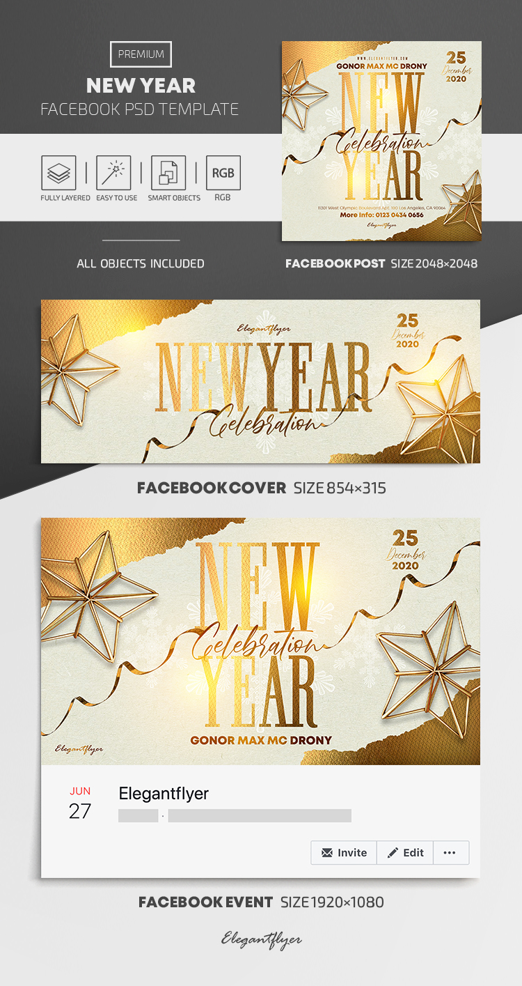 New Year – Facebook Cover Template in PSD + Post + Event cover