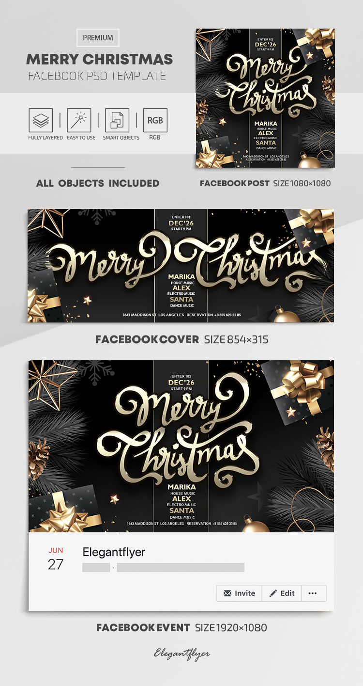 Merry Christmas – Facebook Cover Template in PSD + Post + Event cover