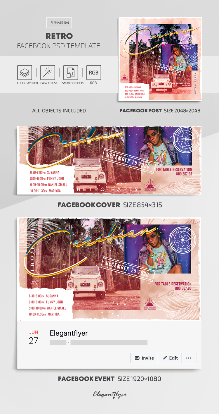 Retro – Facebook Cover Template in PSD + Post + Event cover