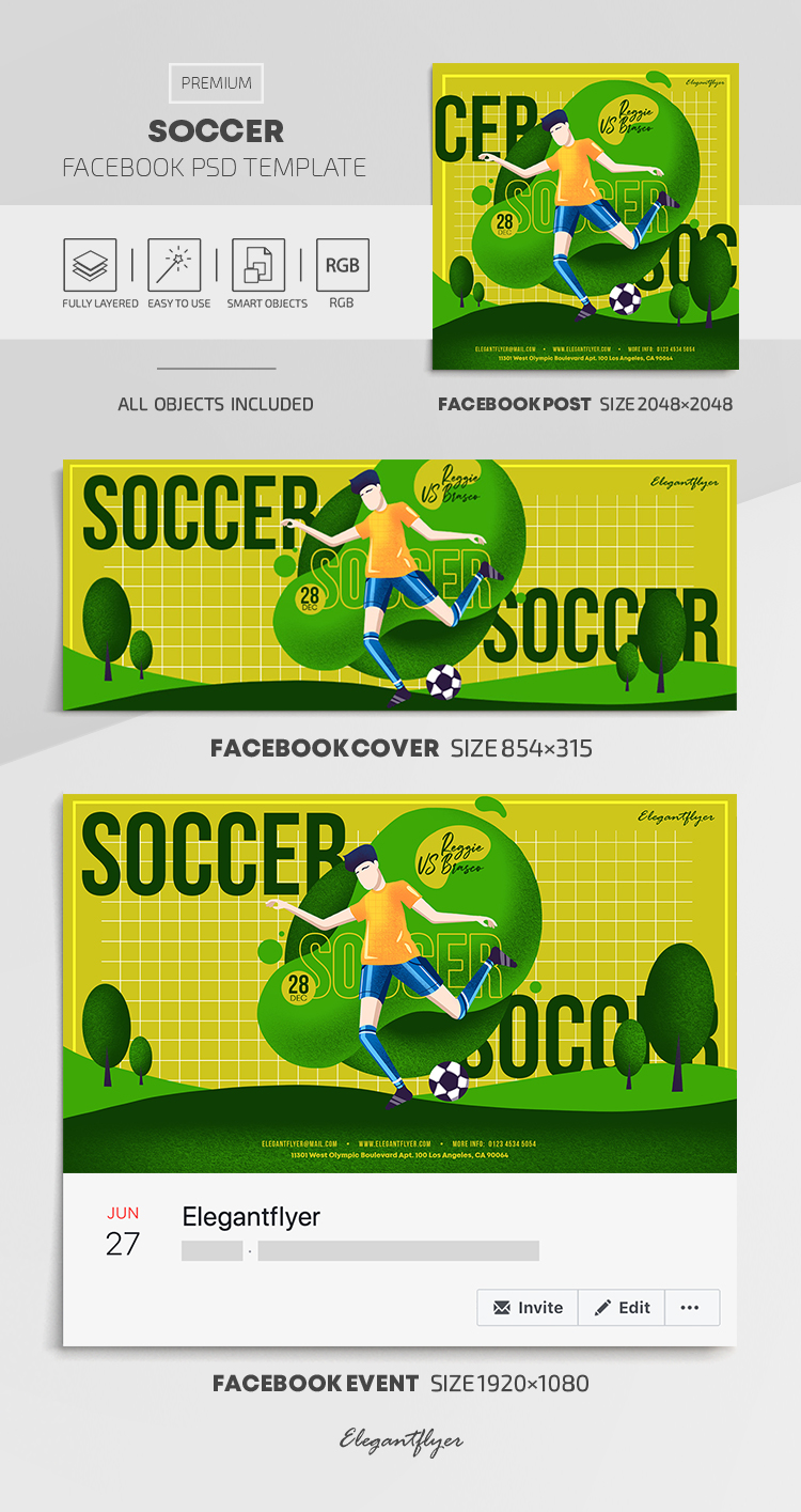 Soccer – Facebook Cover Template in PSD + Post + Event cover
