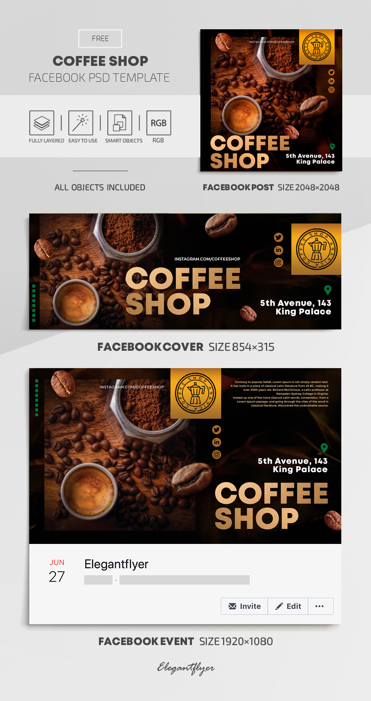 Coffee Shop – Free Facebook Cover Template in PSD + Post + Event cover