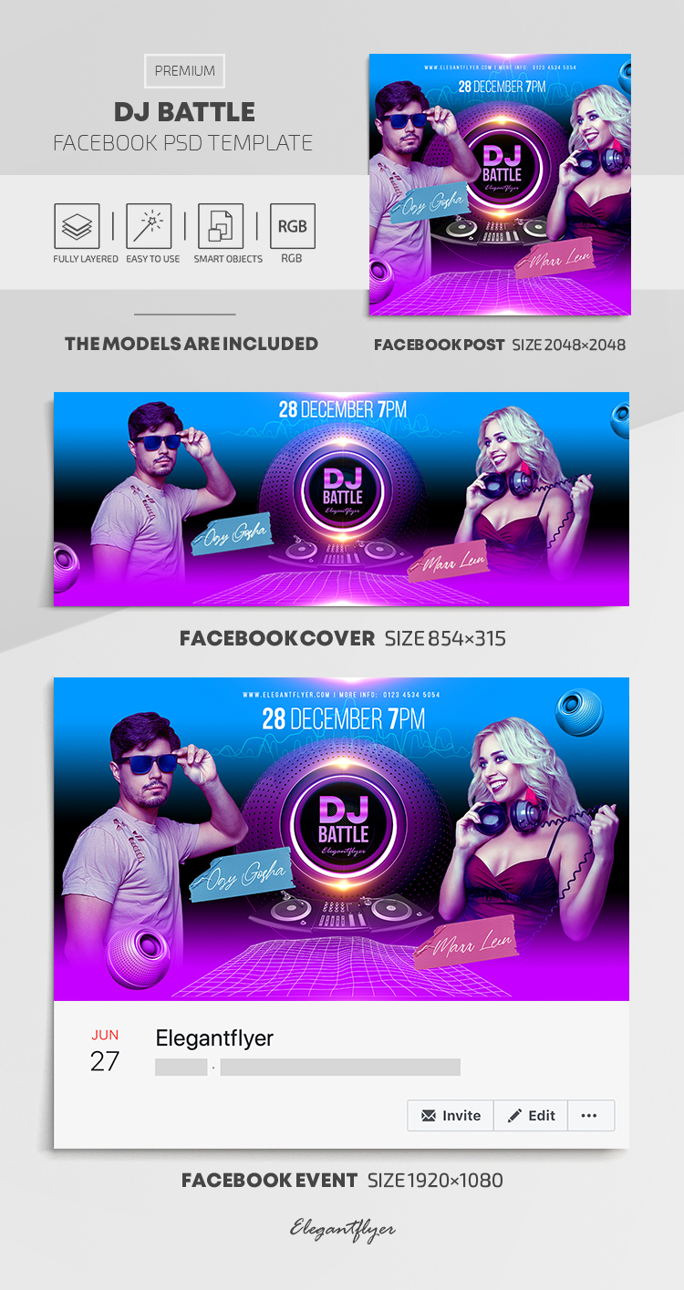 DJ Battle – Facebook Cover Template in PSD + Post + Event cover