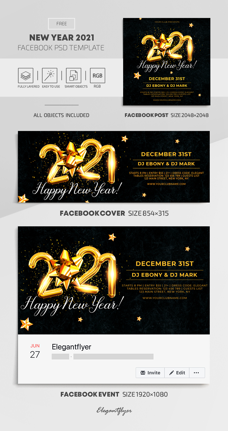 New Year 2021 – Free Facebook Cover Template in PSD + Post + Event cover