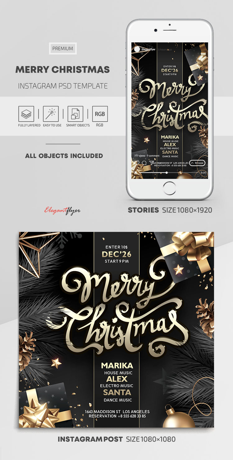 Merry Christmas – Instagram Stories Template in PSD + Post Templates