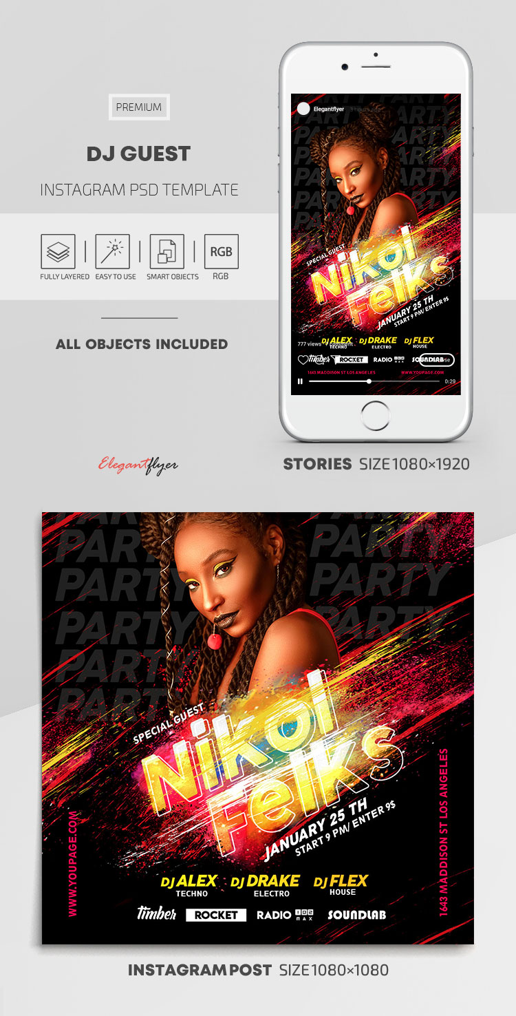 DJ Guest – Instagram Stories Template in PSD + Post Templates