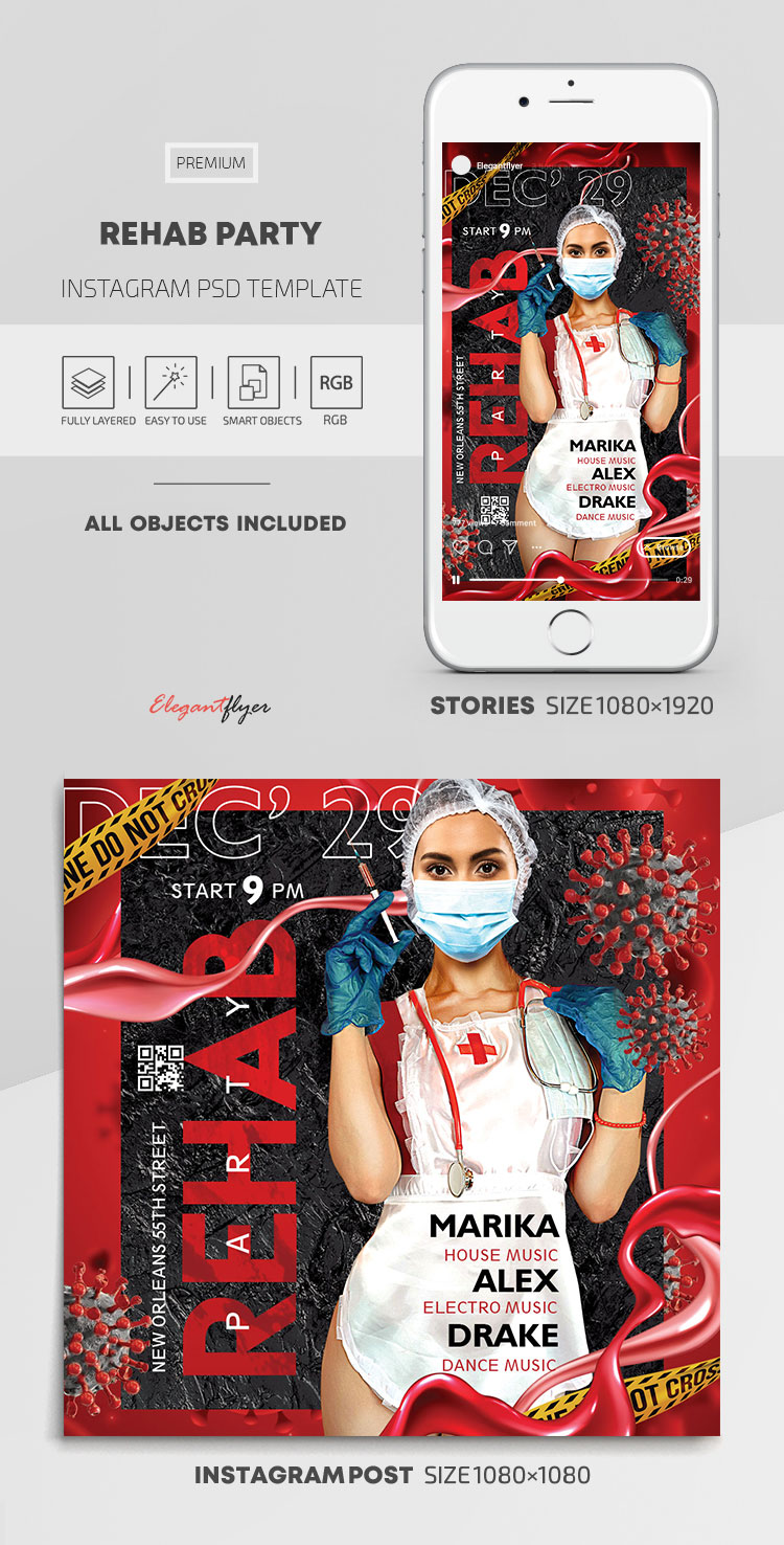Rehab Party – Instagram Stories Template in PSD + Post Templates